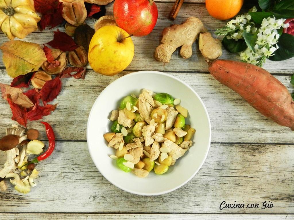 pollo, cavoletti e mela cotogna
