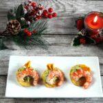 Chips di verdure con caprino e salmone